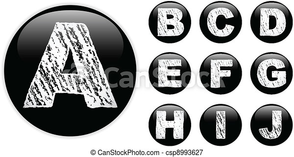 Alphabet Chalk Letters in shiny Black Buttons - csp8993627