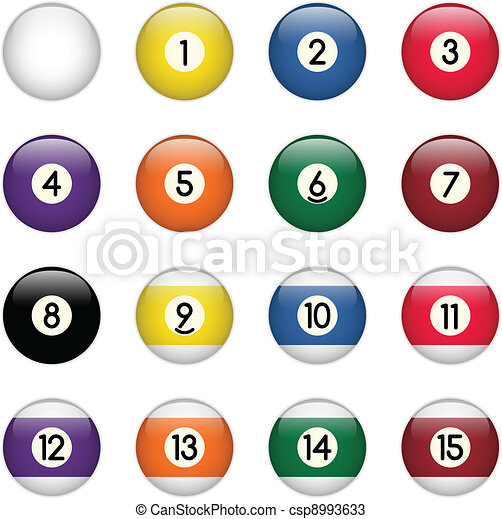 Colored Pool Balls Set from Zero to Fifteen - csp8993633