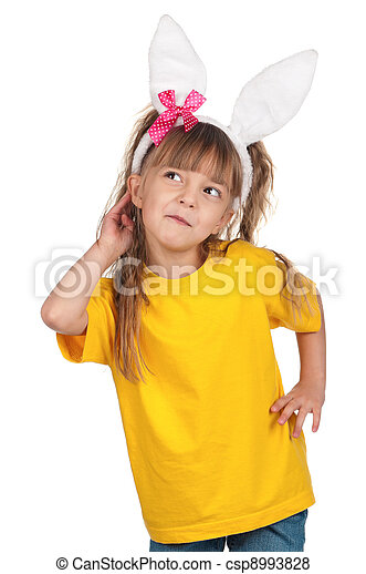 Little girl with bunny ears - csp8993828