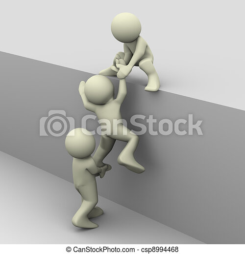 3d people helping - csp8994468