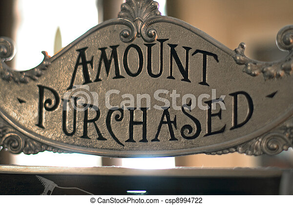 amount purchased sign on cash register - csp8994722