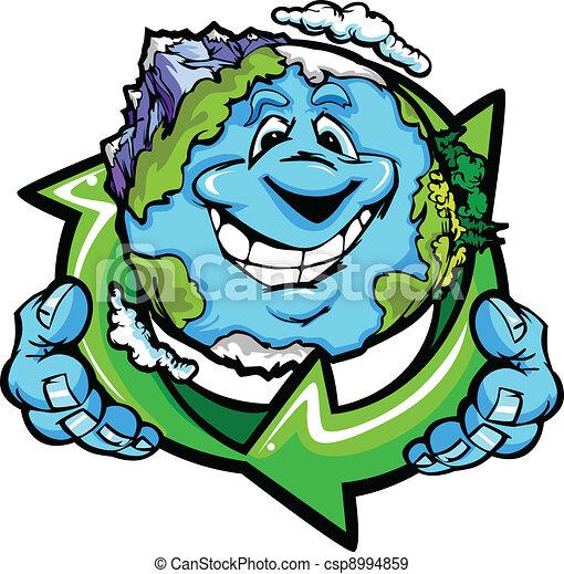 EPS vectores de feliz, planeta, tierra, tenencia, reciclar ...