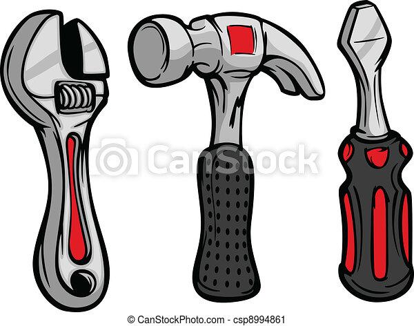 Cartoon Wrench Hammer Screw Driver - csp8994861