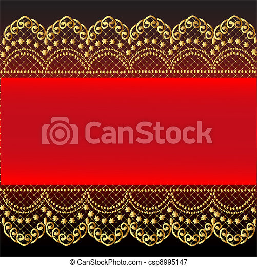 red background with gold(en) pattern and net - csp8995147