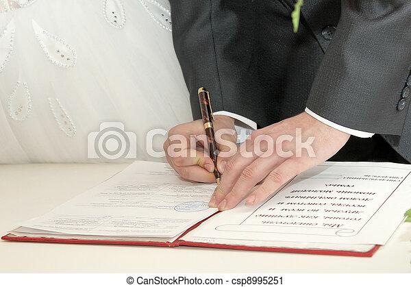 signature wedding document