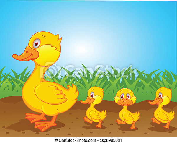 Duck Family Walking Clipart