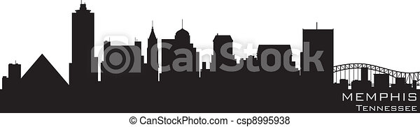 Memphis, Tennessee skyline. Detailed vector silhouette - csp8995938
