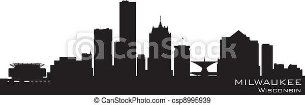 Milwaukee, Wisconsin skyline. Detailed vector silhouette - csp8995939