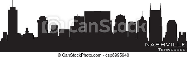 Nashville, Tennessee skyline. Detailed vector silhouette - csp8995940