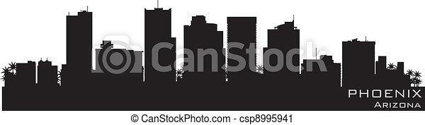 Phoenix, Arizona skyline. Detailed vector silhouette - csp8995941