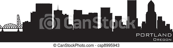 Portland, Oregon skyline. Detailed vector silhouette - csp8995943