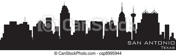 San Antonio, Texas skyline. Detailed vector silhouette - csp8995944