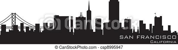 San Francisco, California skyline. Detailed vector silhouette - csp8995947