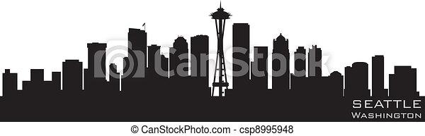 Seattle, Washington skyline. Detailed vector silhouette - csp8995948
