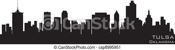Tulsa, Oklahoma skyline. Detailed vector silhouette - csp8995951
