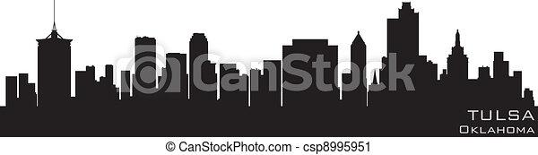 Tulsa, Oklahoma skyline. Detailed vector silhouette - csp8995951