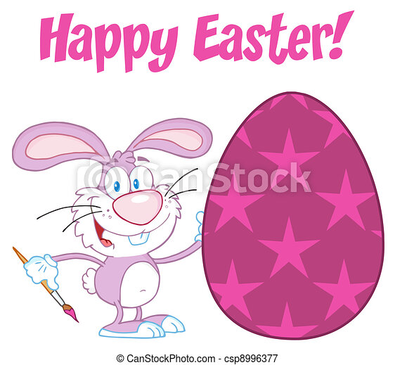 Happy Easter Text Above A Rabbit - csp8996377