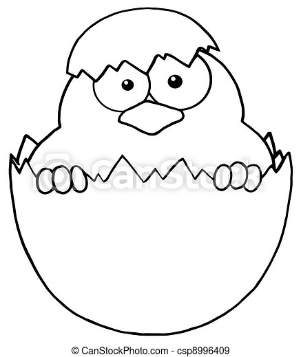 Outlined Easter Chick In A Shell - csp8996409