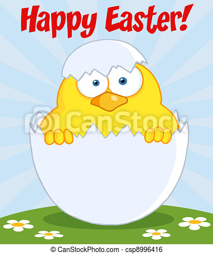 Easter Chick In A Shell On A Hill - csp8996416