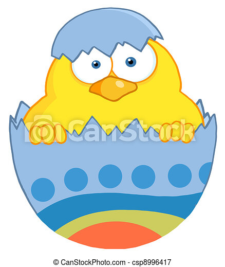 Yellow Easter Chick In A Blue Shell - csp8996417