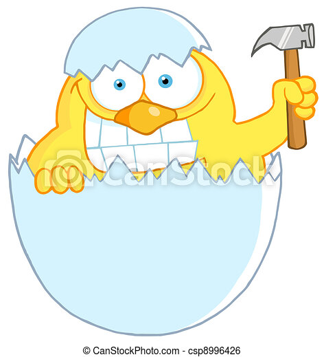 Chick Holding A Hammer In A Shell - csp8996426