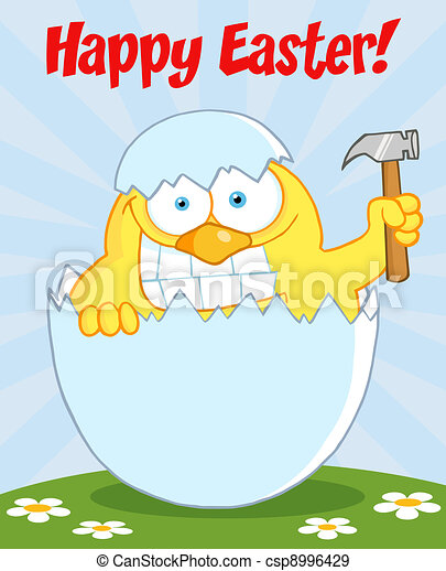 Happy Easter Chick Holding A Hammer - csp8996429