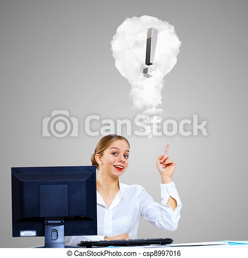 Young woman generating ideas in office - csp8997016