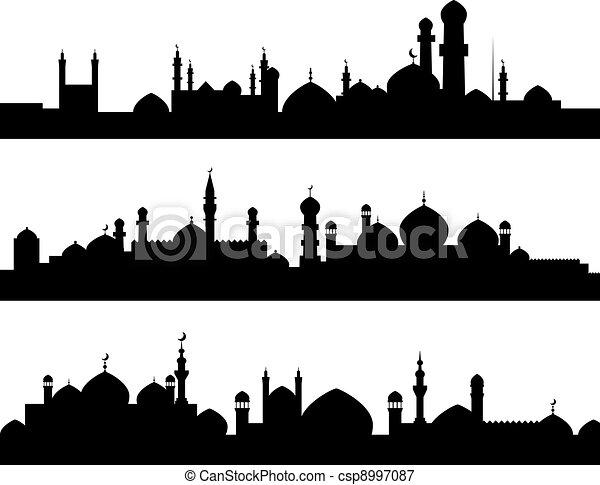 Muslim cities silhouettes - csp8997087