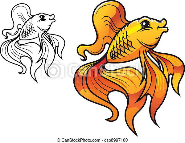 Vector Clip Art de caricatura, dorado, pez - colorido, sonriente ...