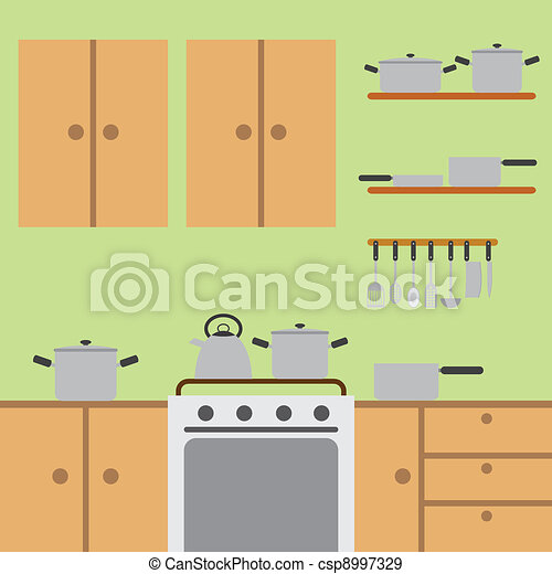 Eps Vectors Of Kitchen Room Modern Kitchen With Wooden Worktops And Csp8997329 Search