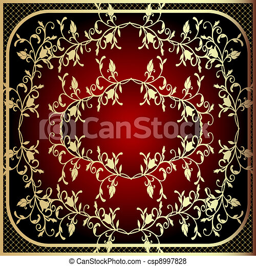 frame with vegetable gold(en) pattern and net - csp8997828