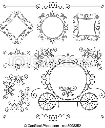 set vintage vector ornaments - csp8998352