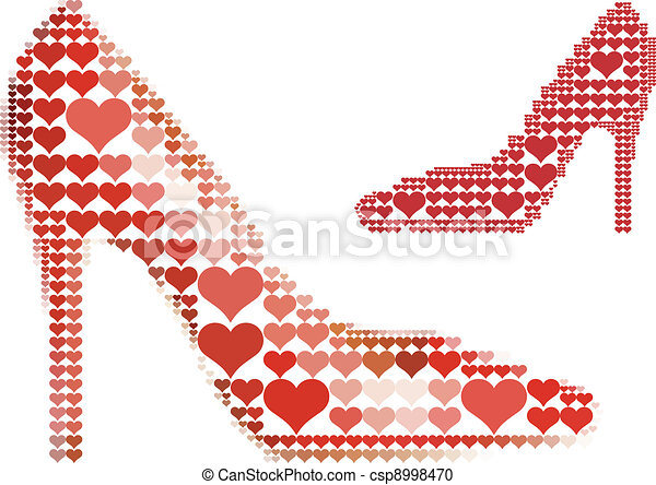 shoe with red heart pattern - csp8998470