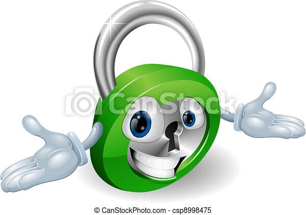 Smiling padlock character - csp8998475