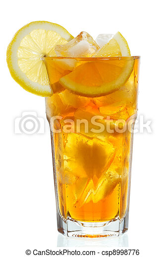 glass of ice tea with lemon - csp8998776