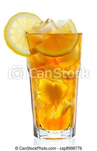 glass of ice tea with lemon - csp8998776