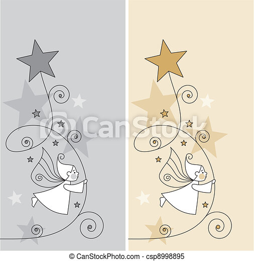greeting cards with elves and stars - csp8998895