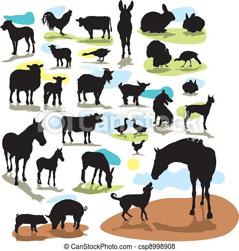 set vector silhouettes farm animals - csp8998908