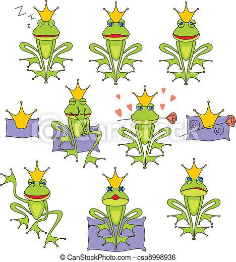 set prince frog emotion expressions - csp8998936