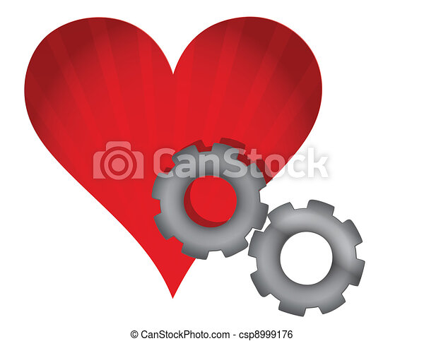 red heart and gears illustration - csp8999176