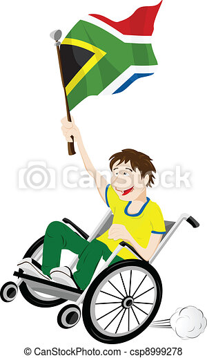 South Africa Sport Fan Supporter on Wheelchair with Flag - csp8999278