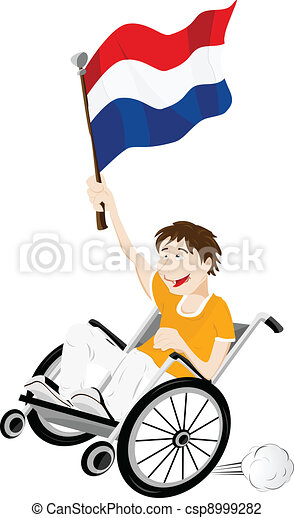 Dutch Sport Fan Supporter on Wheelchair with Flag - csp8999282