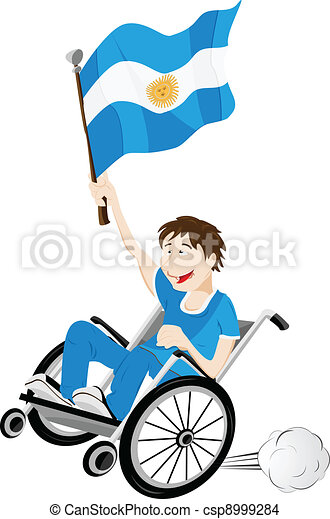Argentina Sport Fan Supporter on Wheelchair with Flag - csp8999284