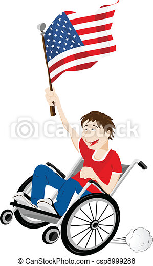 USA Sport Fan Supporter on Wheelchair with Flag - csp8999288