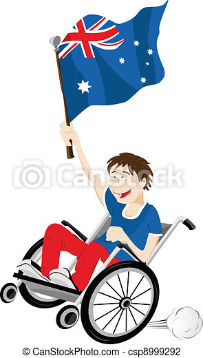 Australia Sport Fan Supporter on Wheelchair with Flag - csp8999292