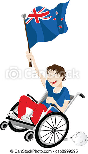 New Zealand Sport Fan Supporter on Wheelchair with Flag - csp8999295