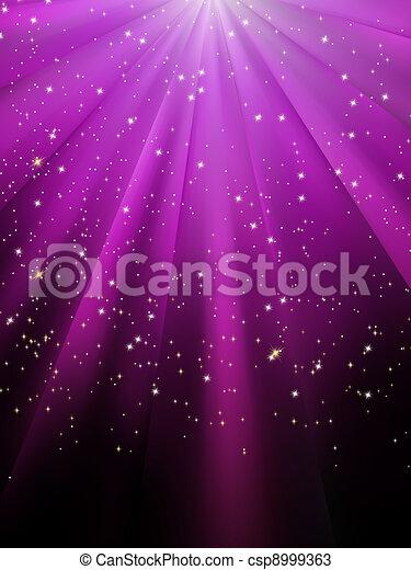 Stars are falling on purple luminous rays. EPS 8 - csp8999363