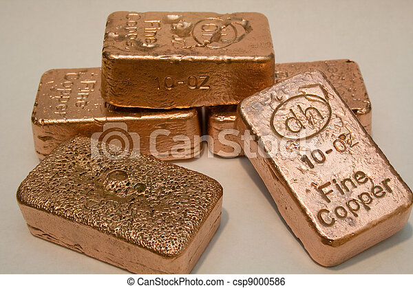 cobre, barras, oro y plata en metálico, puro - csp9000586