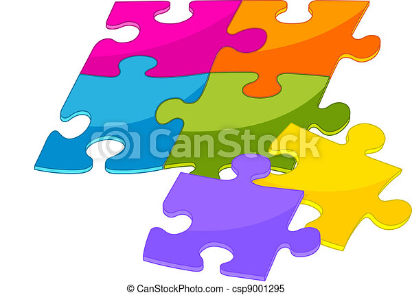Colorful puzzle pieces - csp9001295