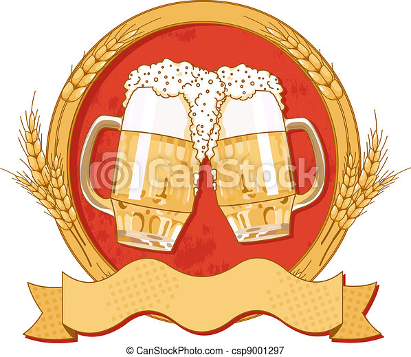 Oval beer label design - csp9001297